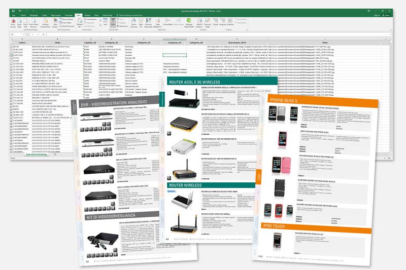 Impaginazione catalogo prodotti con gestione dei dati da gestionale