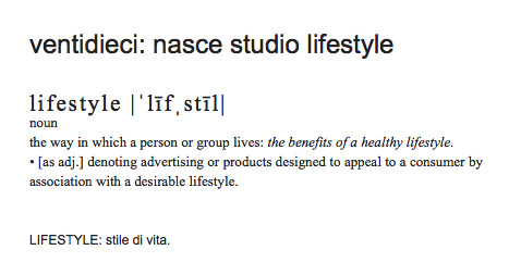 ventidieci: nasce Studio Lifestyle